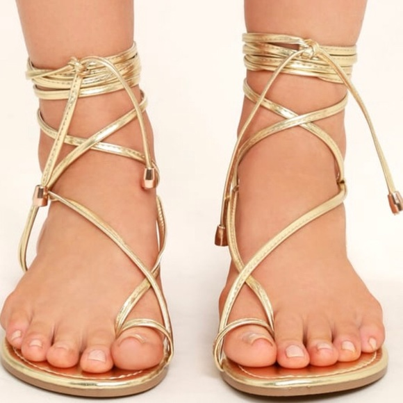 Shoes | Laceup Flat Sandal Gold | Poshmark